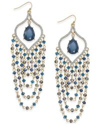 INC International Concepts | Blue Gold-tone Teal Beaded Chandelier Earrings | Lyst