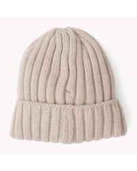 Tommy Hilfiger | Natural Wool Ribbed Hat | Lyst