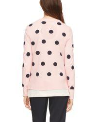 kate spade new york | Pink Intarsia Dot Cardigan | Lyst