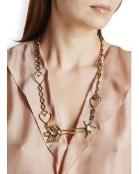 Lanvin - Metallic Gold Tone Arrow Pendant Necklace - Lyst