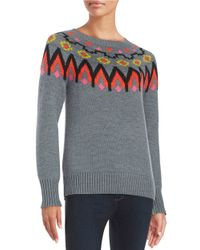 Trina Turk | Gray Addy Patterned Sweater | Lyst
