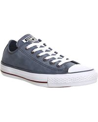 Converse All Star Low-top Leather Trainers in Blue for Men - Lyst e8854da3c