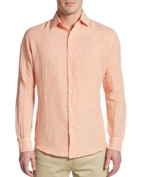 Saks Fifth Avenue Black Label | Orange Slim-fit Micro Check Linen & Cotton Sportshirt for Men | Lyst