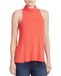 Free People | Pink Turtleneck Tank Top | Lyst