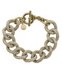 Michael Kors | Gray Golden Pave Curb-link Bracelet | Lyst