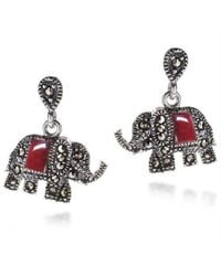 Aeravida | Metallic Royal Elephant Red Quartz And Marcasite .925 Silver Earrings | Lyst