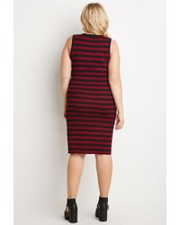 Forever 21 | Purple Striped Midi Dress | Lyst