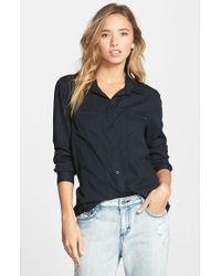 RVCA | Black 'tricks Of Trade' Button Front Collared Shirt | Lyst