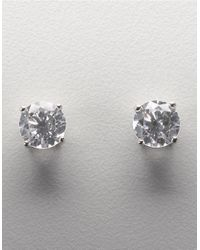 Lord & Taylor | Metallic Platinum Plated Sterling Silver Round Signity Cubic Zirconia Basket Set Stud Earrings | Lyst