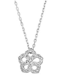 Swarovski | Metallic Silver-Tone Crystal Pave Flower Pendant Necklace | Lyst