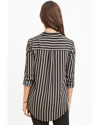 Forever 21 - Black Drapey Striped Shirt You've Been Added To The Waitlist - Lyst