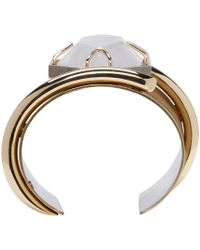Lanvin | Metallic Brass And Crystal Asymmetric Cuff | Lyst