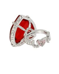 Betsey Johnson | Red Faceted Heart Ring | Lyst