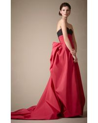 Carolina Herrera - Red Silk Faille Gown with Ribbon - Lyst