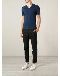 Gucci   Blue V-Neck T-Shirt for Men   Lyst