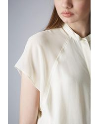 TOPSHOP - White Sheer Sleeve Crop Shirt - Lyst