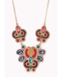 Forever 21 | Metallic Heirloom Faux Gemstone Bib Necklace | Lyst