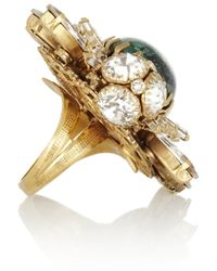 Bijoux Heart - Green Goldplated Swarovski Crystal and Glass Opal Ring - Lyst