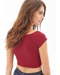 Forever 21 - Red Cap Sleeve Crop Top - Lyst