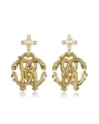 Roberto Cavalli - Metallic Rc Luxe Earrings W/pearls - Lyst