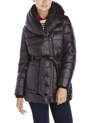 Kenneth Cole - Black Belted Packable Down Jacket - Lyst