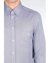 Emporio Armani - Blue Shirt In Striped Twill for Men - Lyst
