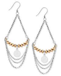 Lucky Brand | Metallic Two-tone Chain Chandelier Earrings | Lyst