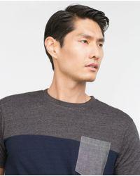 Zara | Blue Two-tone T-shirt for Men | Lyst