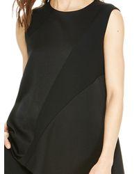 DKNY - Black Pieced Shirt With Asymmetrical Hem - Lyst
