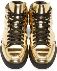 Alejandro Ingelmo - Metallic Gold Leather Exotron High_Top Sneakers for Men - Lyst