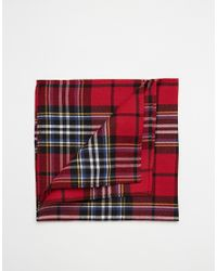 ASOS - Red Pocket Square In Tartan Print for Men - Lyst