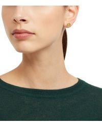Tory Burch   Metallic Hex-logo Stud Earring   Lyst