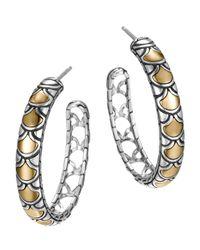 John Hardy | Metallic Naga Gold & Silver Medium Hoop Earrings | Lyst