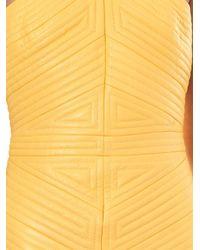 Balmain - Yellow Striped-Quilt Leather Dress - Lyst