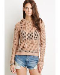 Forever 21 | Brown Open Knit Tassel Hoodie | Lyst