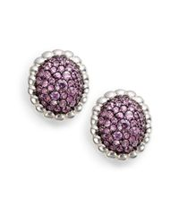 Slane | Purple Pavã© Pink Sapphire Earrings | Lyst