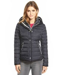 Vince Camuto | Blue Hooded Down Jacket With Vest Front Insert | Lyst
