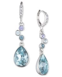 Givenchy - Silver-tone Blue Crystal Teardrop Earrings - Lyst