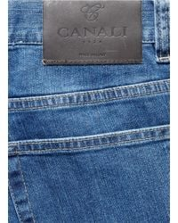 Canali - Blue Washed Cotton Denim for Men - Lyst