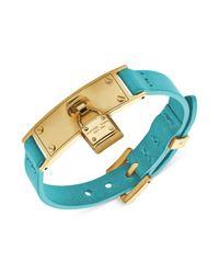 Michael Kors | Blue Goldtone Steel and Teal Leather Adjustable Padlock Bracelet | Lyst
