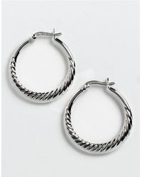 Lord & Taylor | Metallic Sterling Silver Swirl Hoop Earrings | Lyst