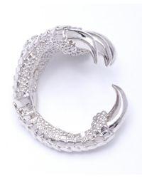 Alexander McQueen - Metallic Silver And Swarovski Crystal Claw Ring - Lyst