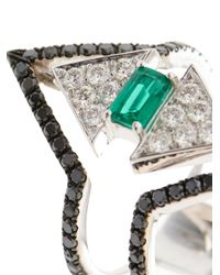 Nikos Koulis - Diamond, Emerald & White-Gold Ring - Lyst