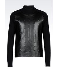 Emporio Armani | Black Turtleneck Jumper In Wool And Faux Leather for Men | Lyst