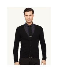 Ralph Lauren Black Label - Black Ribbed Wool V-neck Cardigan for Men - Lyst