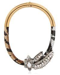 Shourouk - Metallic Aigrette Tiger Necklace - Lyst