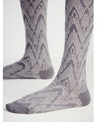 Free People | Gray Womens Dupont Patterned Over The Knee Sock | Lyst
