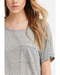Forever 21 - Gray Curved-hem Textured Pocket Tee - Lyst