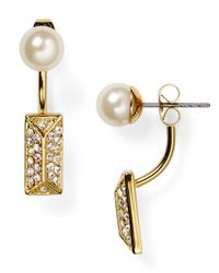 Rebecca Minkoff | Metallic Pavé Front Back Earrings | Lyst