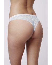 TOPSHOP - Blue Lace Brazilian Panties - Lyst
